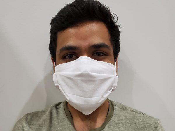 Kramay Patel wearing a mask