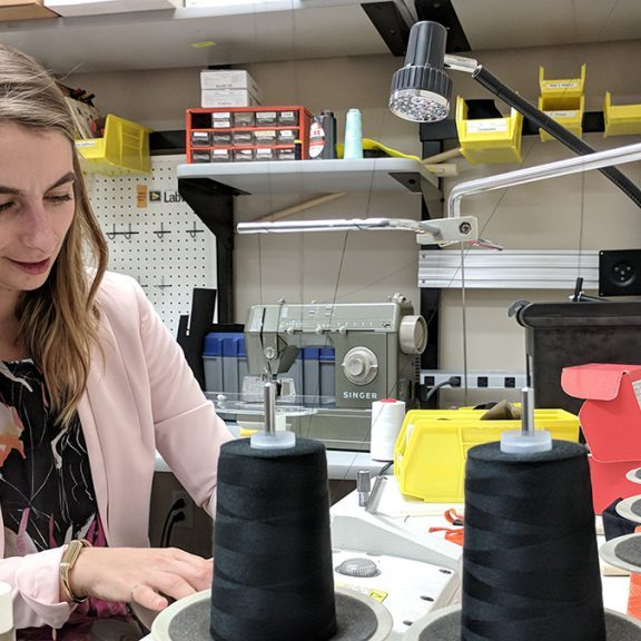 Amanda Fleury in her sewing studio