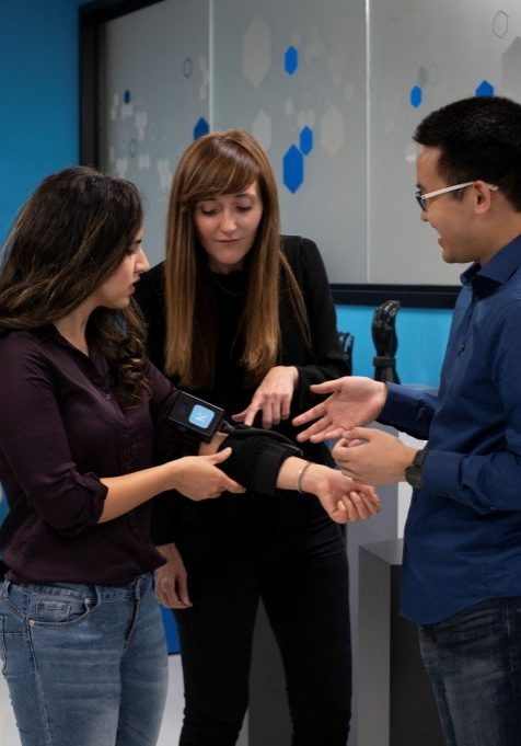 Sarah Sarabadani, Michael Li, and Marija Cotic at Klick Health lab
